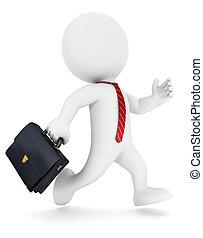 3d, blanco, gente, funcionamiento del hombre de negocios