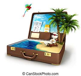 3d, blanco, gente, paraíso, maleta