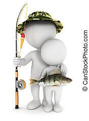 3d, blanco, gente, pesca, con, hijo