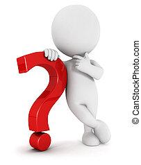 3d, blanco, gente, signo de interrogación
