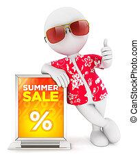 3d, blanco, gente, verano, venta