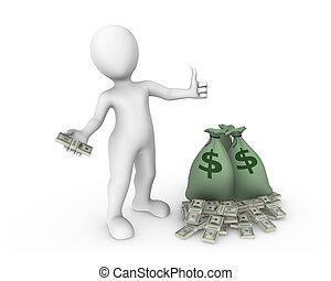3d, blanco, hombre, con, un, embolsar de, dinero.