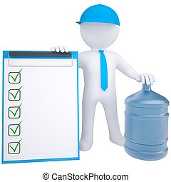 3d, blanco, hombre, con, un, grande, botella de agua