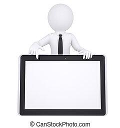 3d, blanco, hombre, puntos, un, dedo, en, un, computadora personal tableta