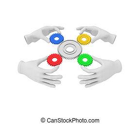 3d, blanco, mano humana, asideros, coloreado, engranaje, (cog)., 3d, ilustración, ., blanco, fondo.