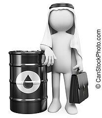 3d, blanco, personas., árabe, hombre, con, un, barril, de, aceite
