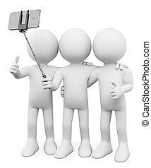 3d, blanco, personas., amigos, tomar una foto, con, un, selfie, palo