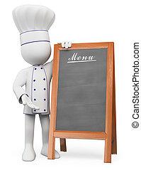 3d, blanco, personas., chef, con, un, blanco, de, menú