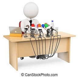 3d, blanco, personas., conferencia de prensa