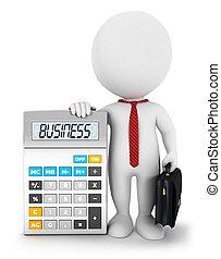 3d, blanco, personas empresa, calculadora