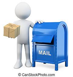 3d, blanco, personas., enviar, un, package.