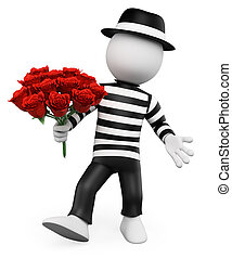 3d, blanco, personas., francés, con, un, ramode flores