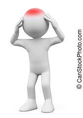 3d, blanco, personas., hombre, con, dolor de cabeza