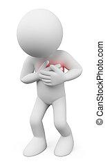 3d, blanco, personas., hombre, con, un, ataque cardíaco
