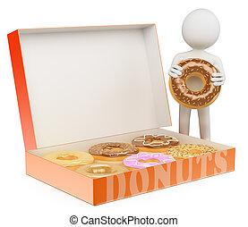 3d, blanco, personas., hombre, con, un, caja rosquillas