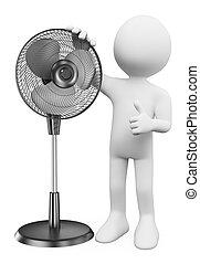 3d, blanco, personas., hombre, con, un, posición, ventilador