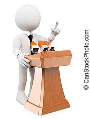 3d, blanco, personas., hombre, dar, un, conferencia