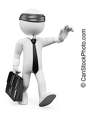 3d, blanco, personas., hombre de negocios, ambulante, blindly., metáfora del negocio