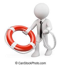 3d, blanco, personas., hombre de negocios, lanzamiento, un, salvavidas