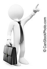 3d, blanco, personas., hombre de negocios, señalar con el dedo arriba