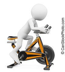 3d, blanco, personas., hombre, hacer, girar, en una bici
