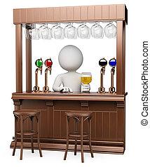 3d, blanco, personas., madera, bar