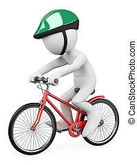 3d, blanco, personas., montar a caballo del hombre bicicleta
