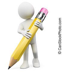 3d, blanco, personas., niño, con, lápiz
