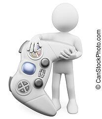 3d, blanco, personas., niño, con, un, gamepad