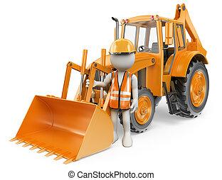 3d, blanco, personas., trabajador, con, un, backhoe, loader., cavador