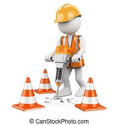3d, blanco, personas., trabajador, con, un, martillo neumático