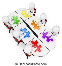 3d, blanco, personas., trabajo en equipo, buscar, el, mejor, solución