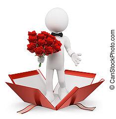 3d, blanco, personas., valentines., hombre, con, un, ramo de...