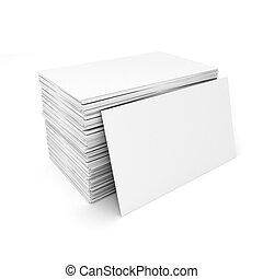3d, blanco, tarjetas comerciales