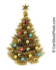 3d blank - 3d illustration of golden Christmas tree over...