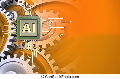 3d illustration of over orange background with gears