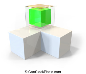 3d blank abstract cubes