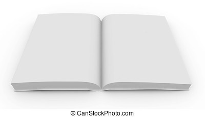 3d blank book - 3d blank white  book isolated on white
