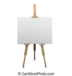3d Blank canvas on easel - 3d render of a blank canvas on...