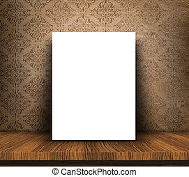 3D blank canvas on wooden table against grunge wallpaper background