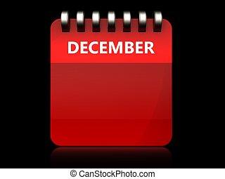 3d blank december calendar