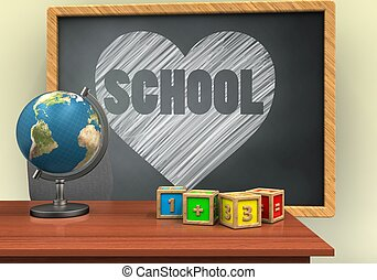 3d blank - 3d illustration of grey chalkboard with heart and...
