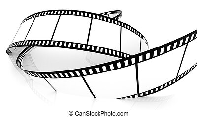 Blank film strip drowning in white - 3D Blank film strip...