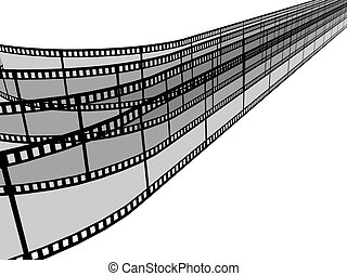 3d blank films strip over white background