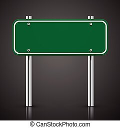3d blank green traffic road sign