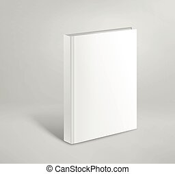3d blank hardcover book vector mockup. Paper book template