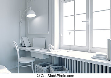 3d blank interior with laptop, chair and wall lamp