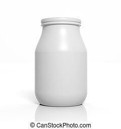 3D blank jar mockup isolated on white