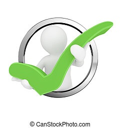 3d blank man hold green check mark.