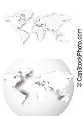 3D blank map of World